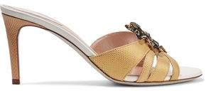 Rene Caovilla Rene' Caovilla Embellished Appliquéd Snake And Leather Sandals