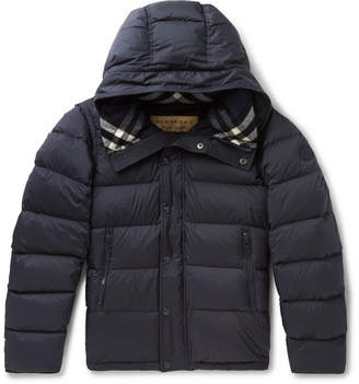 Burberry Quilted Shell Hooded Down Jacket - Navy