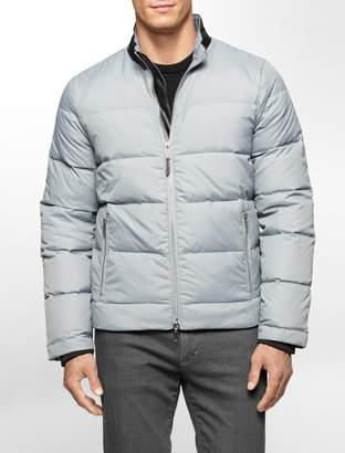 Calvin Klein faux leather collar nylon down jacket