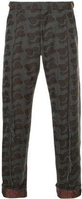 Comme des Garcons Pre-Owned mixed-print cropped trousers