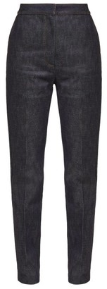 Burberry High Rise Applique Leather Monogram Jeans - Womens - Denim