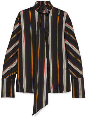 Roksanda Mila Pussy-bow Striped Satin-jacquard Blouse - Midnight blue