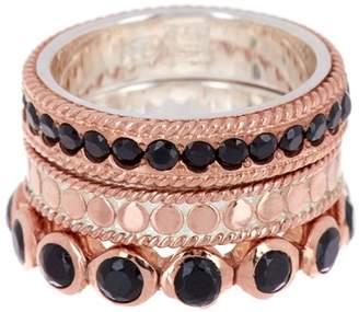Anna Beck Rose Gold Vermeil Black Onyx Ring Set - Set of 3