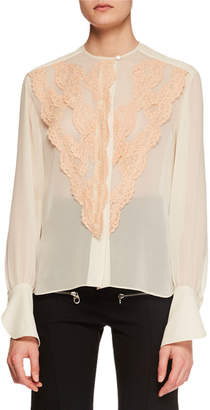 Chloé Long-Sleeve Lace-Front Chiffon Blouse