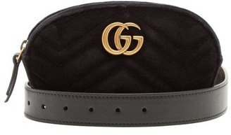 Gucci Gg Marmont Quilted Velvet Belt Bag - Womens - Black