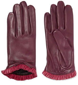 Agnelle Josie Bow-embellished Ruffled Leather Gloves - Claret