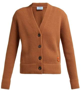 Prada Oma Logo Patch Ribbed Wool Blend Cardigan - Womens - Brown
