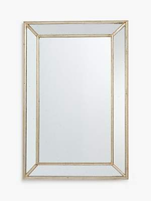 4cd49a197817 John Lewis & Partners Audrey Faceted Rectangular Mirror, 120 x 80cm,  Antique Silver