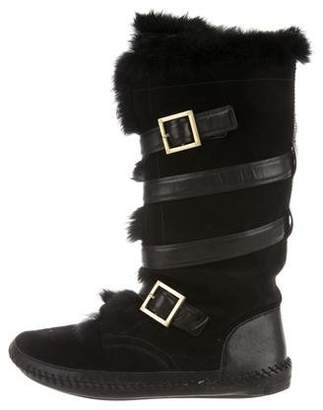 Tory Burch Suede Fur-Trimmed Boots