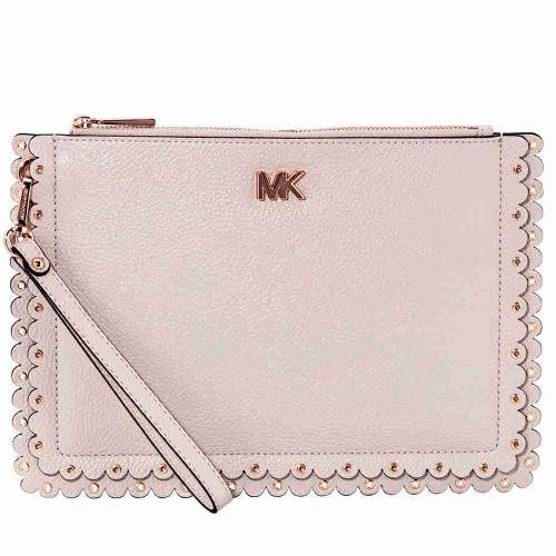 Michael Kors Medium Scalloped Leather Pouch- Soft Pink - ONE COLOR - STYLE
