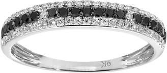 Naava Women's 9 ct White Gold Round 0.33 ct Black and White Diamond Eternity Ring Size P