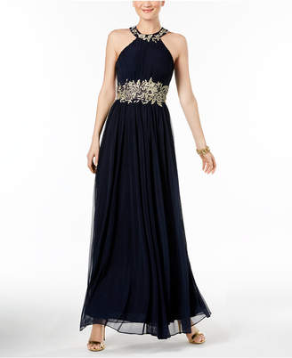 Betsy & Adam Embroidered Mesh Gown