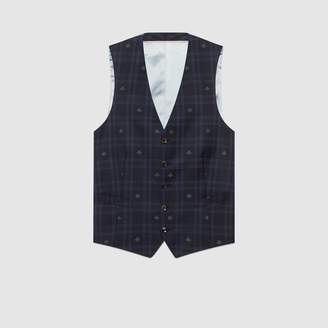 Gucci Bee check formal vest
