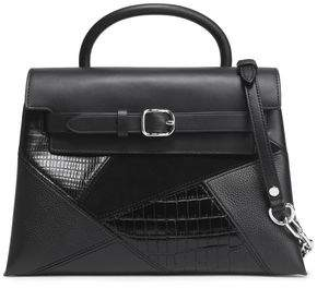 Alexander Wang Suede-Paneled Croc-Effect Textured And Smooth Leather Shoulder Bag