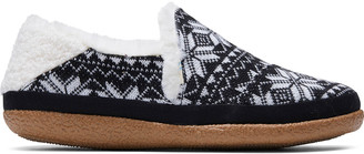 Black Fair Isle Knit Women's India Slippers