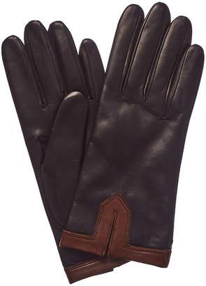 Portolano Black Cashmere-Lined Leather Gloves