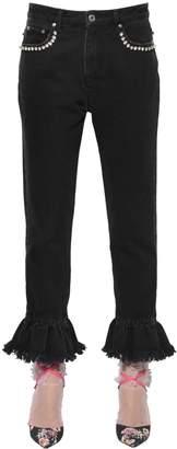 MSGM Embellished Denim Jeans With Ruffled Hem