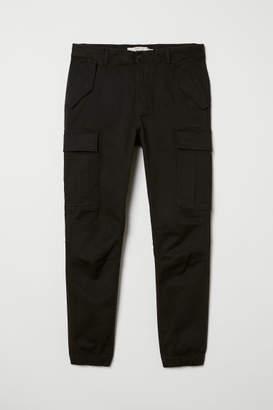 H&M Cotton Twill Cargo Joggers - Black