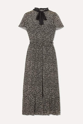 RED Valentino Pussy-bow Leopard-print Silk-blend Chiffon Midi Dress - Beige
