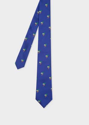 Paul Smith Men's Cobalt Blue Embroidered 'Palm Tree' Narrow Silk Tie