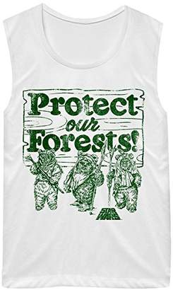 Star Wars Women's Ewoks Protect Our Forest Raw Edge Graphic Muscle Tank