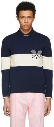Thom Browne Navy Tennis Knit Sweater