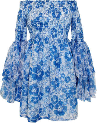 All Things Mochi Kanoa Off-The-Shoulder Smocked Floral-Print Dress