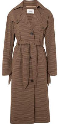Nanushka - Gingham Woven Trench Coat - Brown
