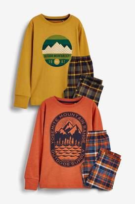 Next Boys Ochre/Orange 2 Pack Mountain Print Check Woven Pyjamas (3-16yrs) - Orange