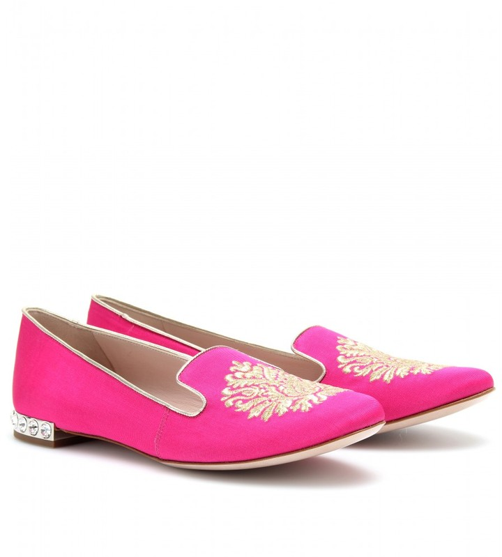 Miu Miu EMBROIDERED SLIPPER-STYLE LOAFERS WITH EMBELLISHED HEEL