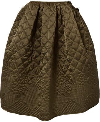 Cecilie Bahnsen - Sybil Quilted Silk-satin Midi Skirt - Army green