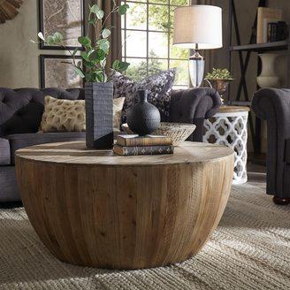 SIGNAL HILLS Hatteras Drum Reclaimed Woodblock Barrel Coffee Table