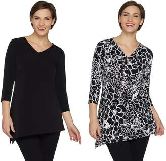 Susan Graver Set of 2 Print & Solid Asymmetrical Hem Tunics