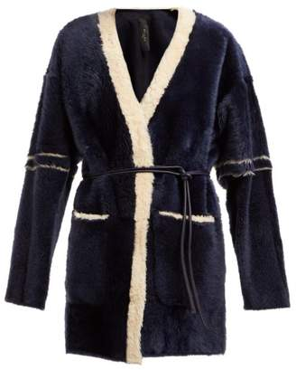 Giani Firenze Gioia Belted Shearling Coat - Womens - Navy Multi