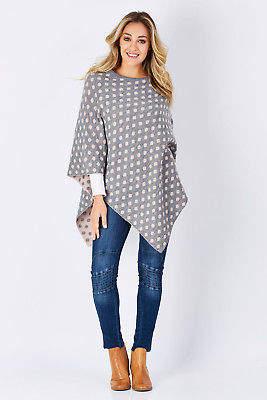NEW Moda Immagine Womens Ponchos Peggy Spot Poncho Size OneSize Salmon