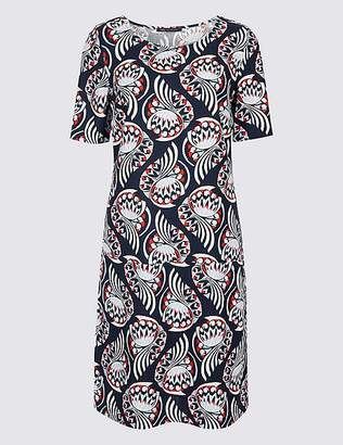 Marks and Spencer Linen Printed Short Sleeve Tunic Dress