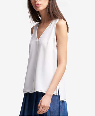 DKNY Sleeveless V-Neck Topstitched Top, Created for Macy's
