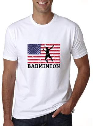 Hollywood Thread USA Olympic - Badminton - Vintage Flag - Silhouette Men's T-Shirt