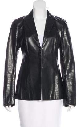 CNC Costume National Leather Peak-Lapel Blazer