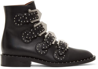 Givenchy Black Buckled Leather Stud Boots