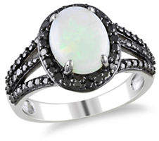 Black Diamond CONCERTO 0.10 TCW and Opal Halo Sterling Silver Ring
