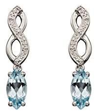Celtic Elements Gold White Gold Plait Aqua Earrings AZ-GE2132T
