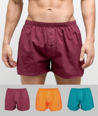 Asos Design DESIGN Woven Boxers In Retro Colours 3 Pack
