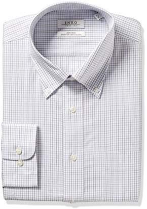 Enro Men's Classic Fit Tattersal Check Dress Shirt