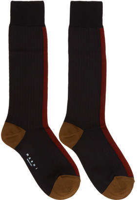 Marni Black and Red Silk Colorblocked Socks