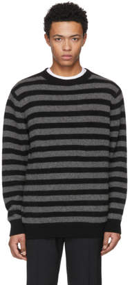 The Elder Statesman Grey and Black Inch Stripe Sweater