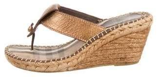 Burberry Metallic Wedge Sandals
