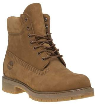 Timberland New Mens Tan 6` Premium Nubuck Boots Lace Up