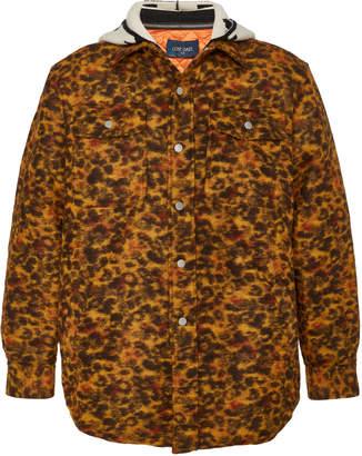 Lost Daze Leopard-Print Hooded Denim Jacket