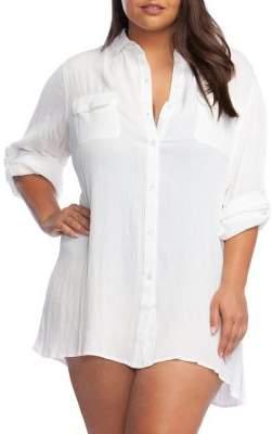 Lauren Ralph Lauren Plus Button Front Camp Shirt Coverup